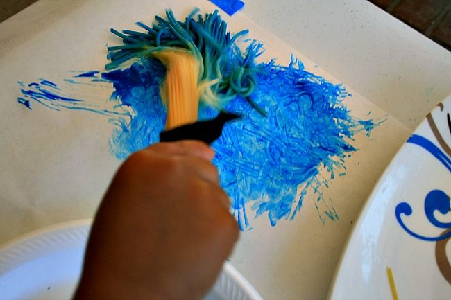 blue paint with spaghetti