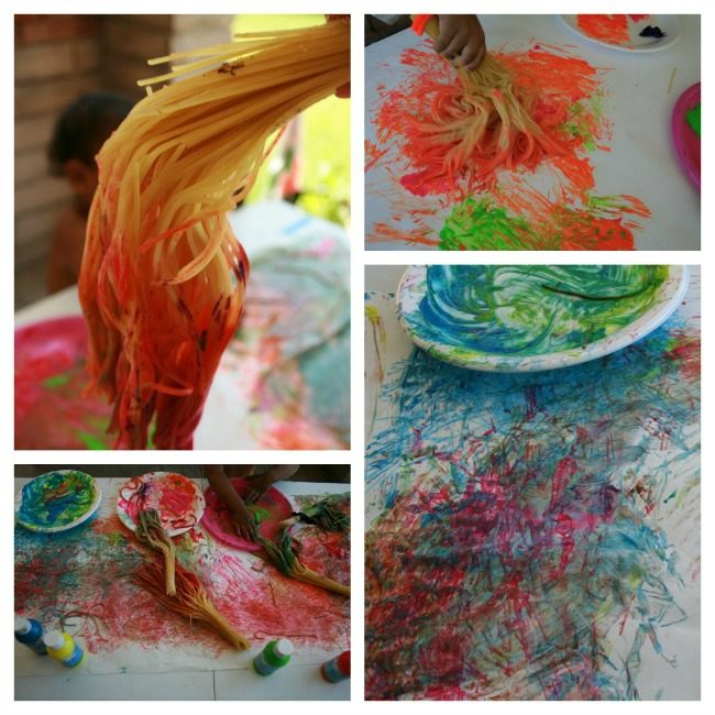 Art Activities For Kids Paint With Spaghetti Brooms Fun Littles