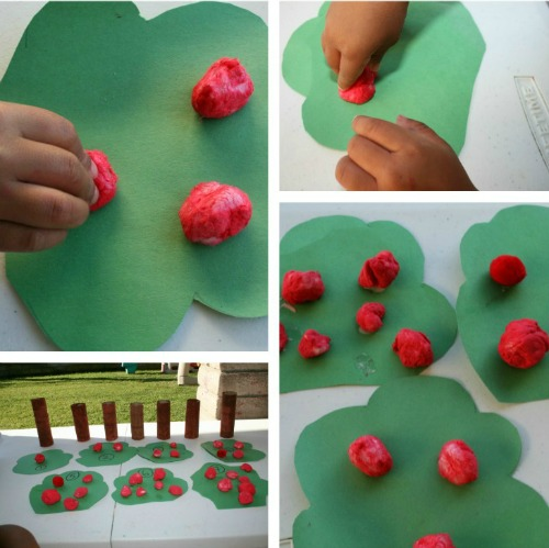 toddler apple tree craft with pom poms