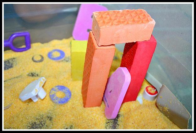 building in a sensory bin