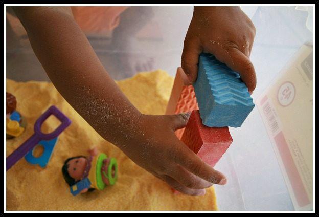 foam blocks in sensory bins