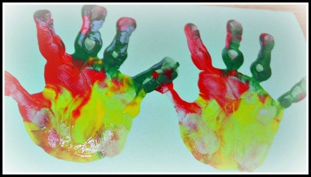 rainbow hand prints as cards