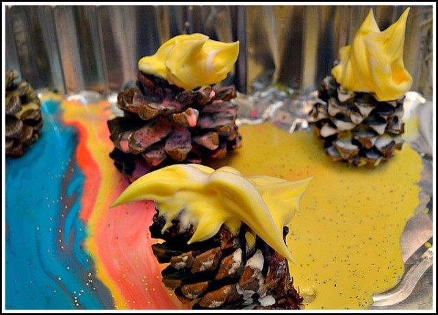 shaving cream on pinecones