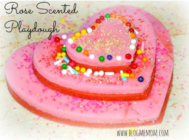 rose scented valentines day playdough recipe