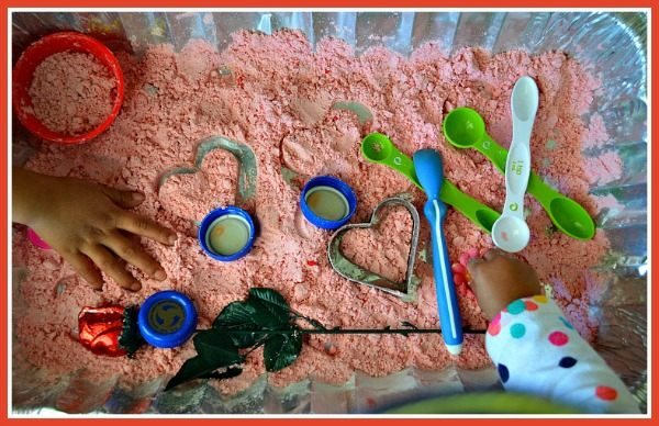 set up for valentines day sensory play activities
