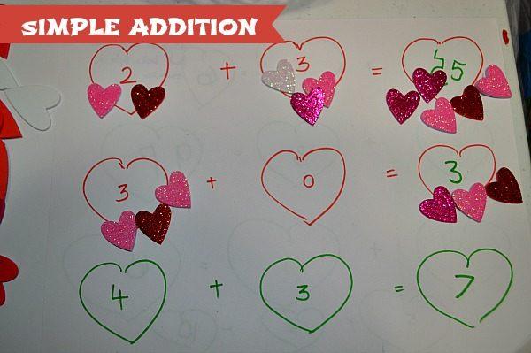 addition for preschoolers hands on valentine activities
