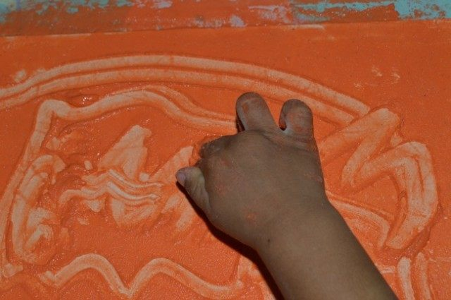 mark making with cornflour paste