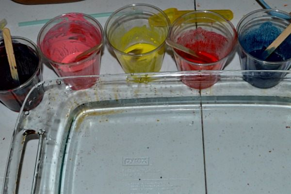 thinned oil paint on water - art projects for kids