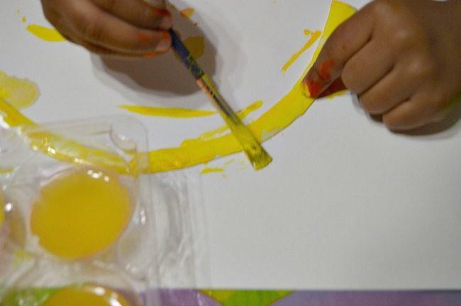 painting rainbows fine motor