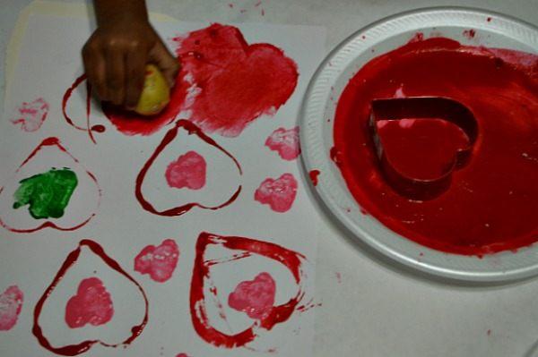 potato printing valentine art