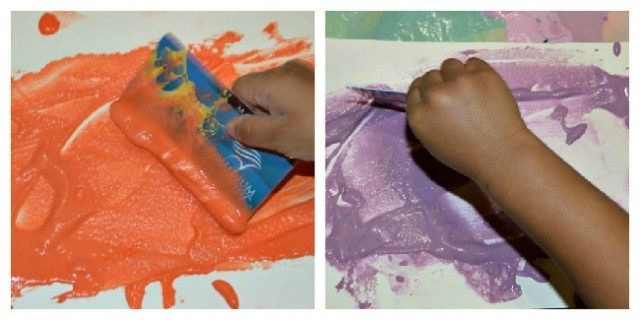 preschool writing using paste sensory paper