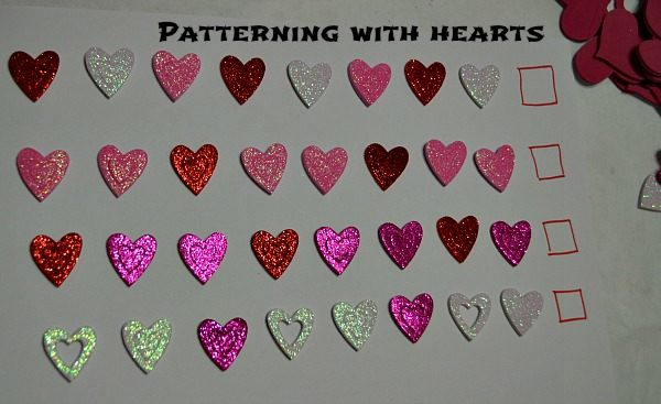 preschooler learning activities patterns with hearts