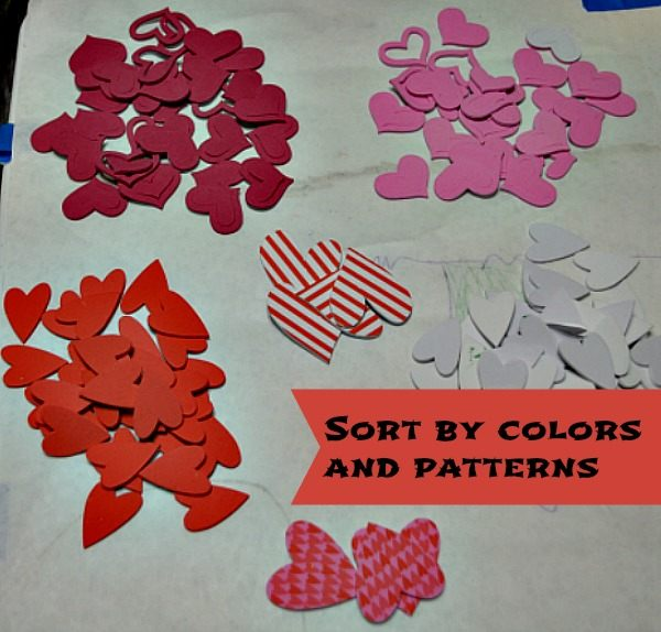sort foam hearts stickers learning for toddlers