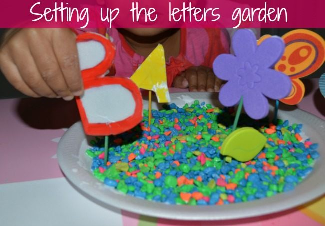 spring craft letters garden set up