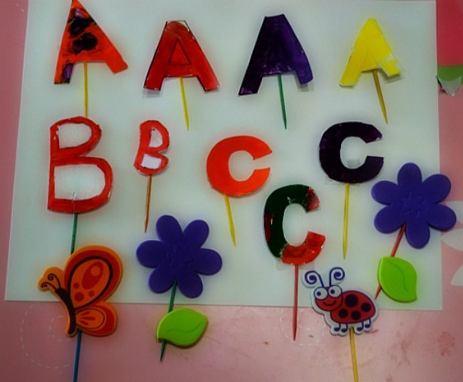 spring craft with learning letters