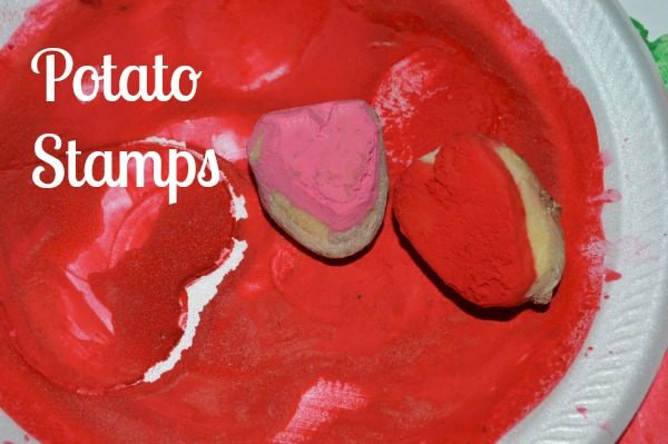 stamps from potatoes for valentines day activities
