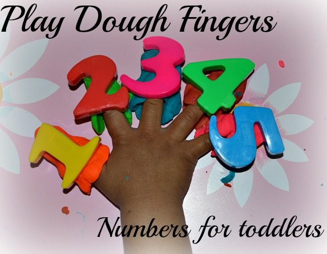 toddlers math activity with play dough and numbers