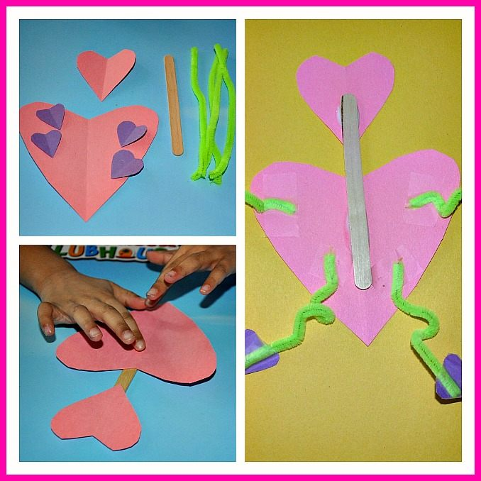 valentine crafts for kids- make a heart lady using heart shapes