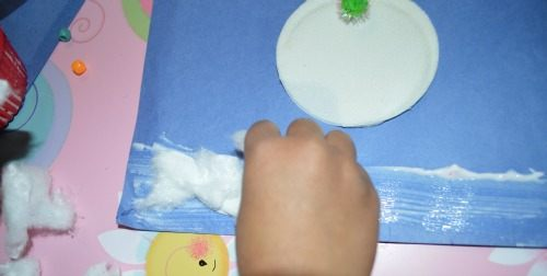 winter crafts with cotton rounds