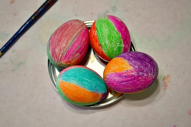 colored crayons easter eggs