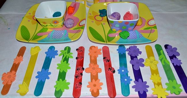 craft sticks color matched with stickers spring craft
