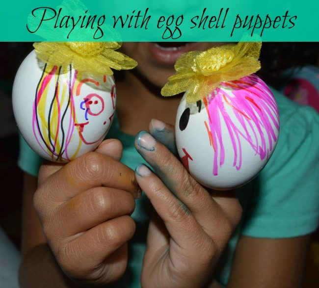 pretend play with egg shell puppets