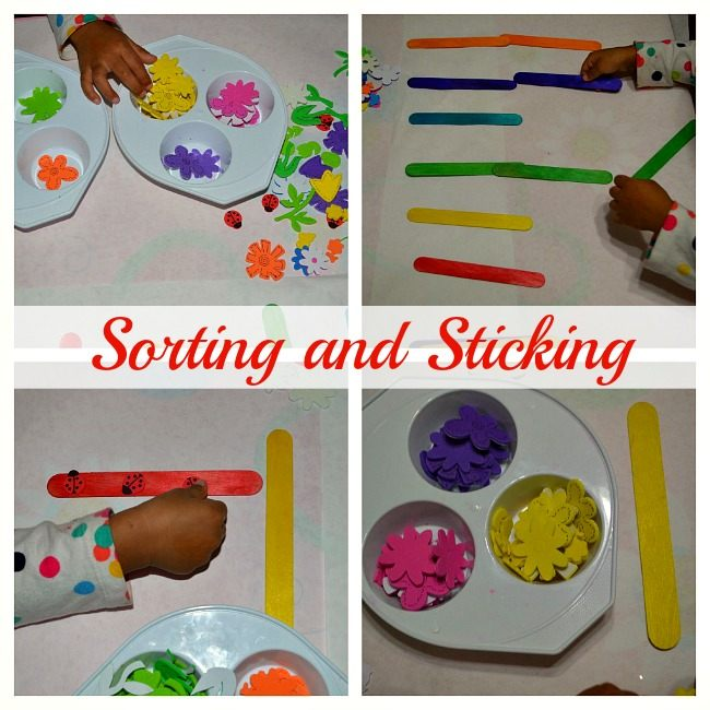 sorting and stickers in spring craft