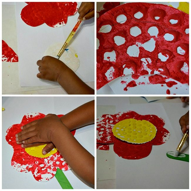 Textured Paper Collage And Flower Crafts Fun Littles