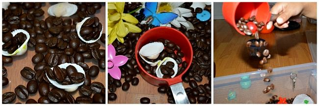 sensory activities for kids using coffee beans