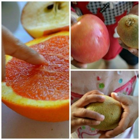 sensory play with fruits