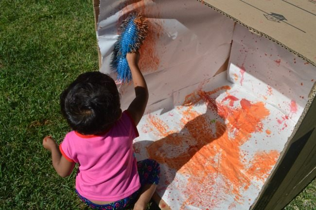 painting a box with squishy