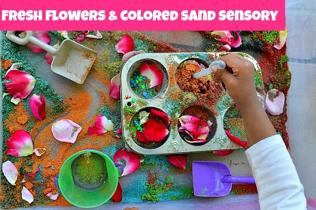 sensory activities with sand and flowers