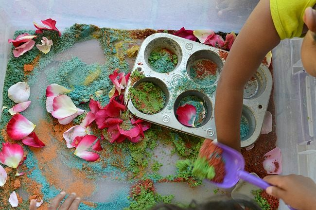 sensory play scooping