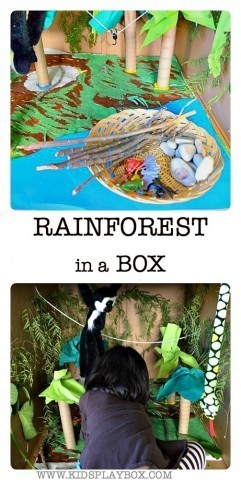 Kids will have fun playing in this rainforest in a big box