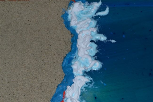 creating playdough shoreline