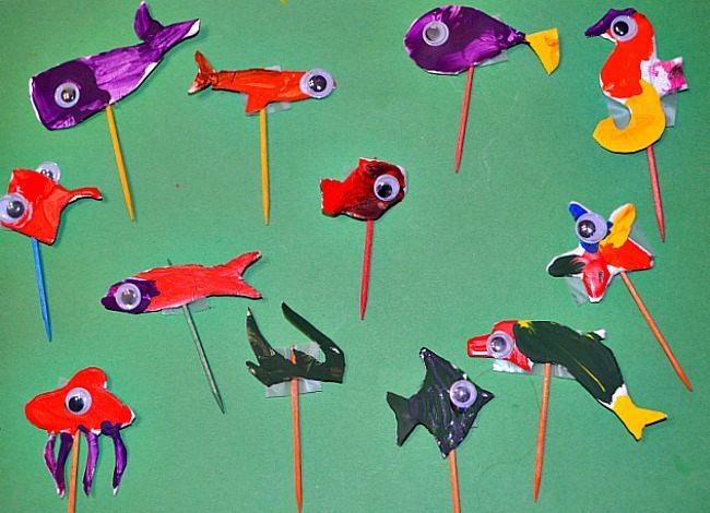 ocean animals on toothpicks for ocean themed crafts