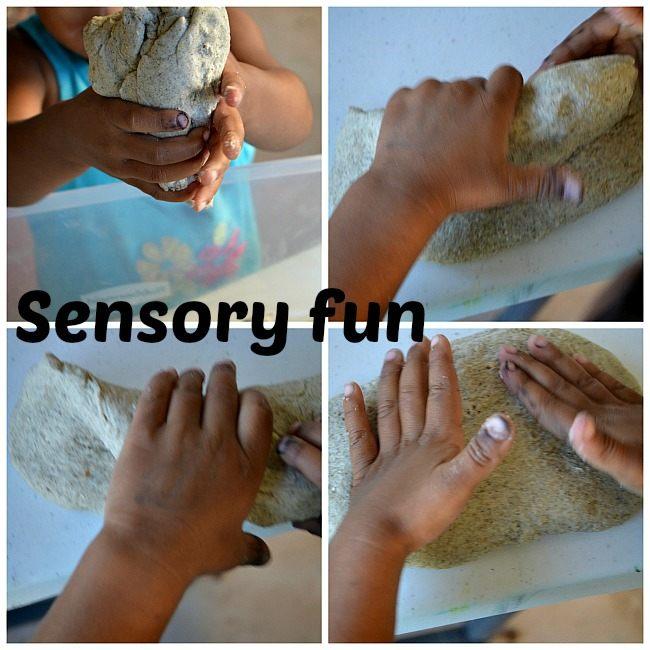 squishing play dough