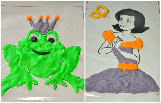 tracing and coloring with playdough