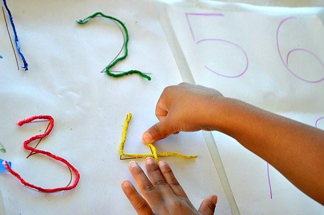 fine motor activities sticky yarn learning fun littles. Black Bedroom Furniture Sets. Home Design Ideas