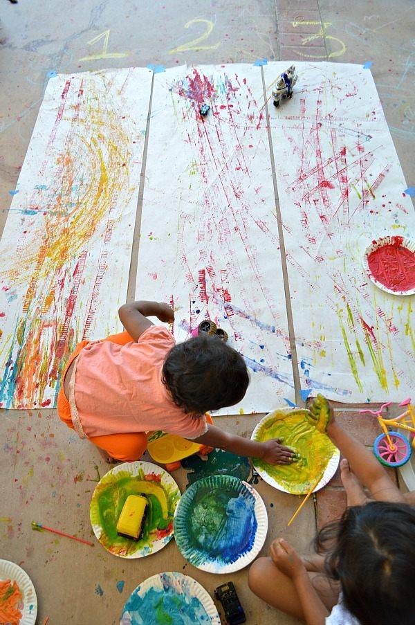 kid enjoying active art activities
