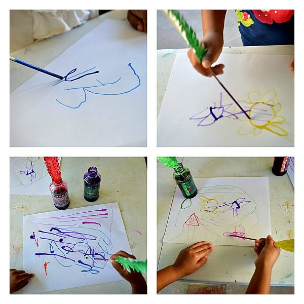 Art activity with quill pen