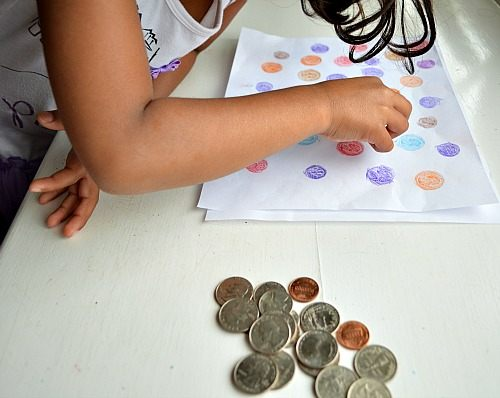 math activity with kids using coins
