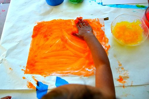 orange color cornstarch paint
