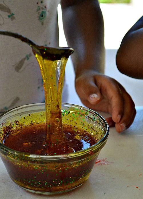 sensory play with cornsyrup