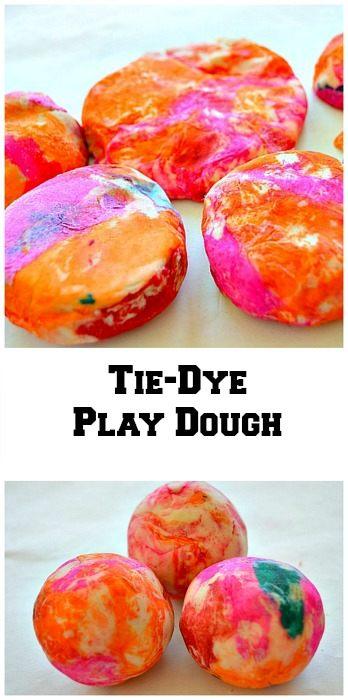 tie dye play dough play recipe
