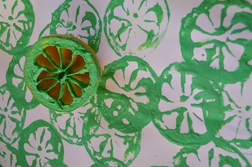 art activity with citrus fruits