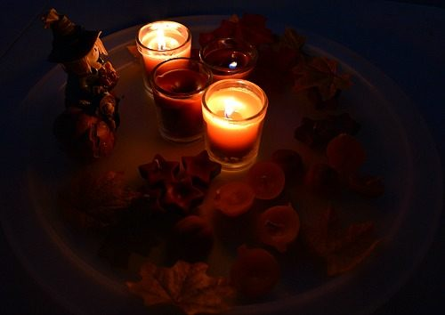 fall candles in the dark