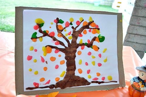 fall decor with kid made art