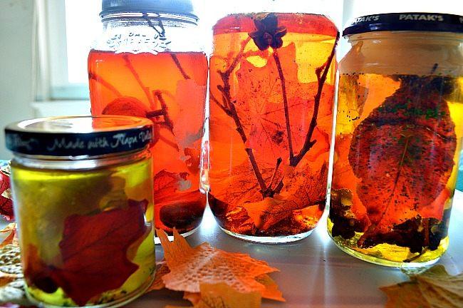 fall snsory jars