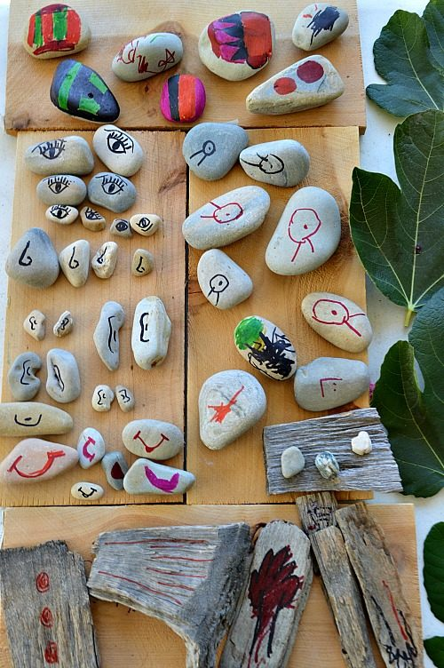 invitation to solve a rock puzzle nature play
